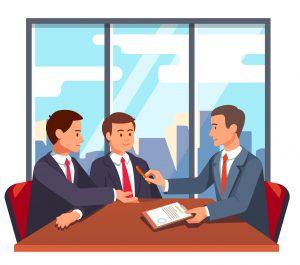 executivos fechando contrato